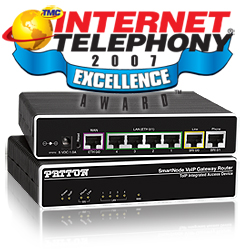 Patton receives INTERNET TELEPHONY Excellence Award