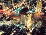 Aerial photo of Bangkok city at night