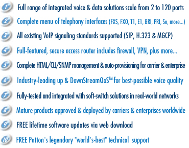 Voice or Reasons - Top Ten Reasons the World is Buying Patton SmartNode VoiP Solutions