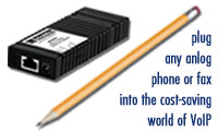 Photo of Patton's Micro-Analog Telephone Adapter (M-ATA). Plug any analog phone or fax into the                        COST-SAVING world of VoIP.