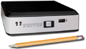 Photo of SIPxNANO IP-PBX with pencil.                        Both are the same length.