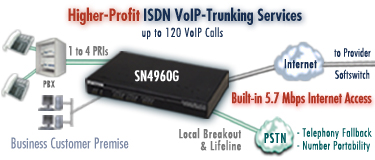 Higher Profit ISDN VoIP-Trunking Services. Drawing shows SmartNode 4960G PRI VoIP IAD with built-in 5.7 Mbps Internet access, up to 4 PRIs, up to 120 VoIP calls and PSTN breakout and lifeline.