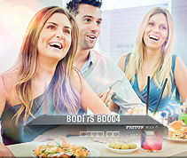 image shows BODi rS BD004 enabling wireless Internet for three happy diners