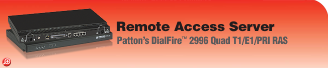 DialFire� Model 2996/96 Remote Access Server (RAS) 96-Port, V.92, V.110, V.90, K56Flex�, V.34+, and ISDN Dial-Up  Remote Access Server (RAS)
