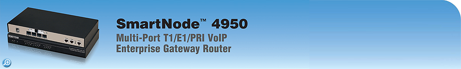 SmartNode 4950 VoIP Router Enterprise VoIP Gateway-Router, T1/E1/PRI, Dual-Ethernet, 15-to-120 Calls